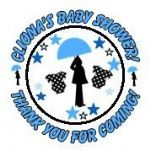 Personalised Blue Pregnant Lady Baby Shower Party Stickers
